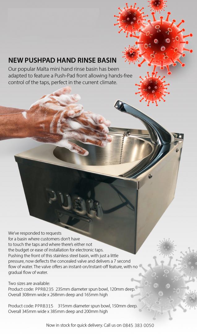 BrookhouseUK Education Furniture - New PushPad Hand Rinse Basin
